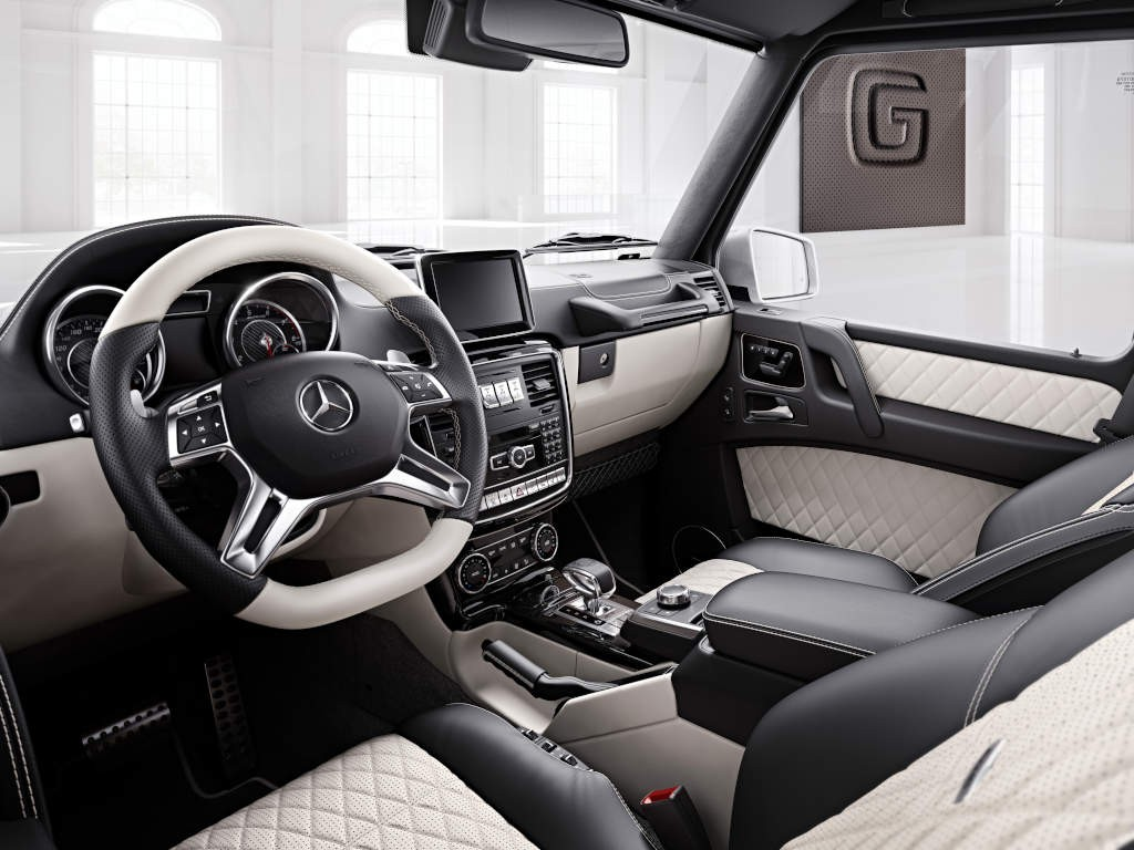 Mercedes-Benz G-Klasse, designo manufaktur, Interieur: designo Leder Porzellan/schwarz Mercedes-Benz G-Klasse, designo manufaktur, interior: designo leather porcelain/black
